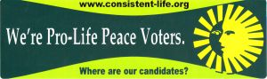 Consistent Life voters bumper sticker