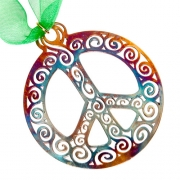 Filagree Peace Symbol ornament